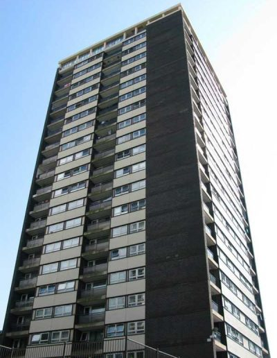 One of 7 tower blocks successfully treated with Isothane Technitherm for Rochdale MBC.